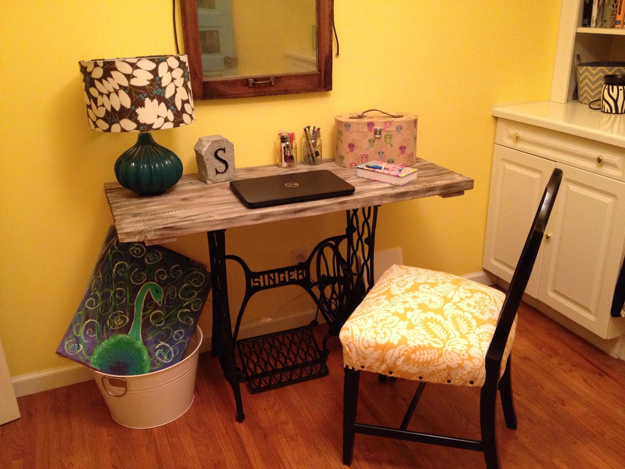 Trash Turned Treasure--DIY Singer Sewing Machine Base Desk
