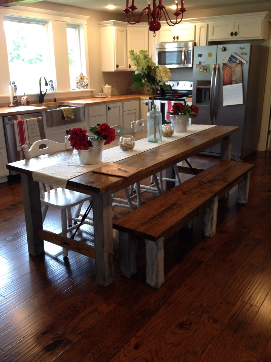Farmhouse Kitchen Tables For Farmhouse kitchen table for a family of two how to build your own dining table with plenty of seating workwithnaturefo