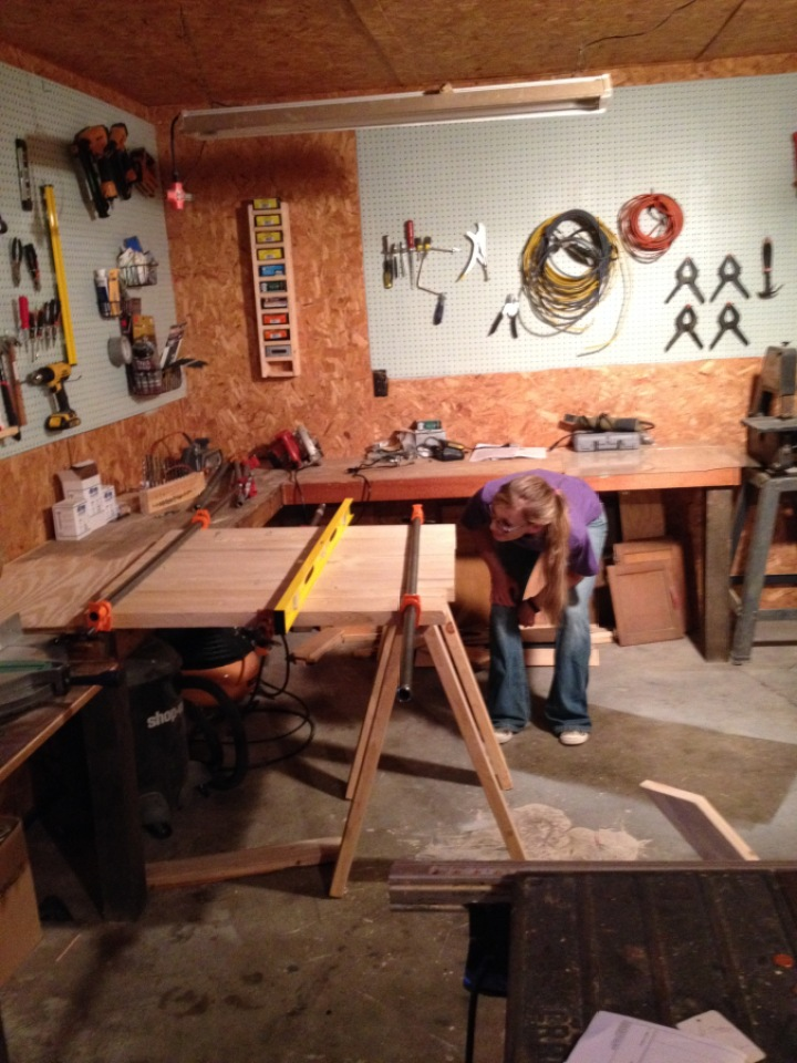 Gluing up panel to use for coffee table top in workshop