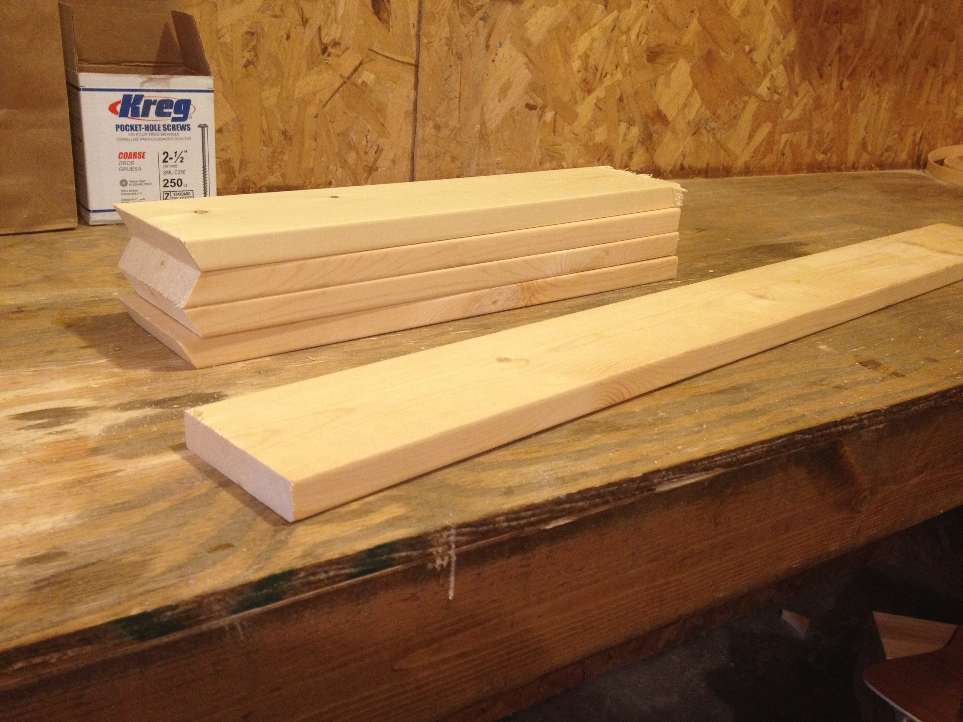 Pieces cut and ready for assembly on main shelf frame